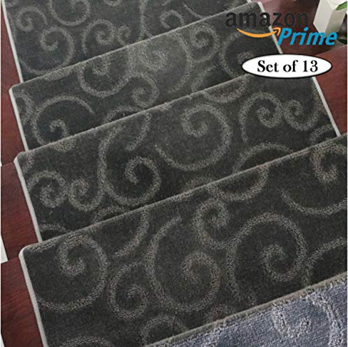 - LE HOME Super Softy, Self-Adhesive, Non Slip Stair Tread, Carpet, Rugs/Covers/Mats/Washable, Pet-Friendly (65cm24cm3cm), Thickness 1.1 cm (Set of 13)