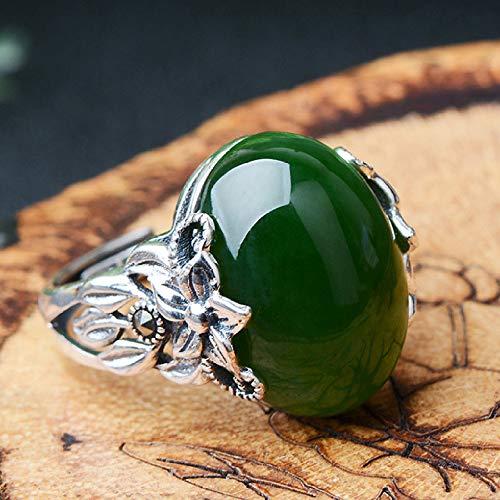 Mayanyan 925 Silver Hetian Jade Jasper Ring Adjustable Wearing Size Jewelry Gift ()