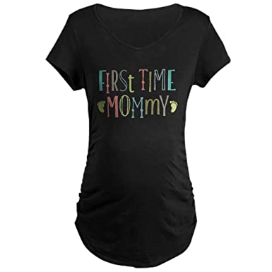 b246753c88a4e CafePress First Time Mommy Cotton Maternity T-Shirt, Side Ruched Scoop Neck  Black