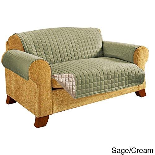 エレガントな快適キルト風リバーシブルソファプロテクター Reversible Furniture Protector SOFA  Neutral, Green B077NSMTVX