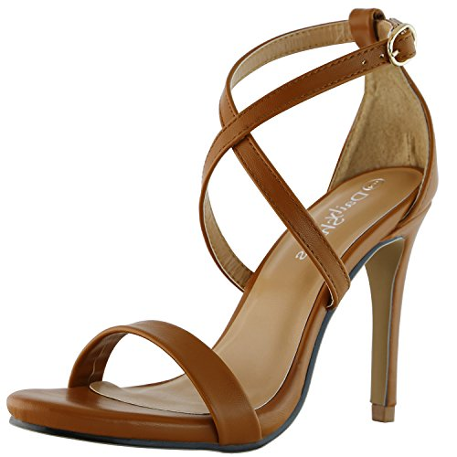 DailyShoes Women's Platform High Heel Clubbing Sandal Open Toe Ankle Buckle Cross Strap Pump Evening Dress Casual Party Shoes, Tan PU Leather, 10 B(M) (Tan Leather High Heel)