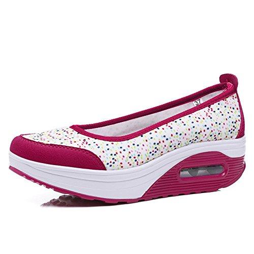 (YSNJL Women's Comfortable Rocker Walking Shoes Casual Slip On Platform Wedge Sneakers(Rose35/4.5 B(M) US)