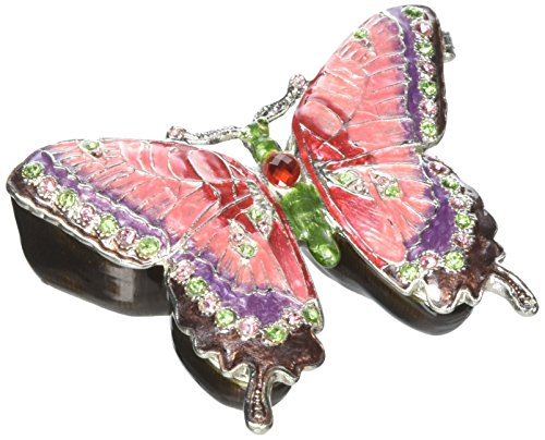 Ciel Collectables 1013641 Butterfly Jeweled Trinket Box with Hand Set, 3.25