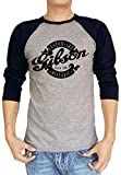 Gibson Custom Art Historic Guitar Logo Baseball Tee Raglan 3/4 Sleeve T Shirt XX-Large Heather Grey/Navy Blue