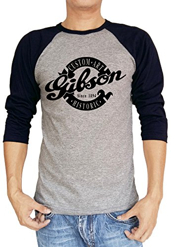 Gibson Custom Art Historic Guitar Logo Baseball Tee Raglan 3/4 Sleeve T Shirt Medium Heather Grey/Navy Blue (Historic Gibson Custom)