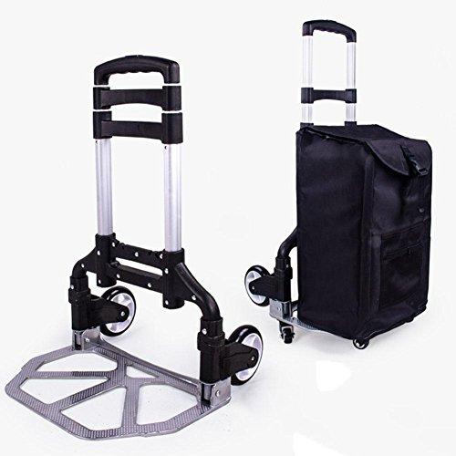 Carrito de la carretilla, carretes ligeros del equipaje plegable de la aleación de aluminio, carretilla portable de 6 ruedas...