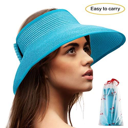 Floppy Sun Hats for Women - Blue Visors Hat Packable Straw Hats Wide Brim Visor