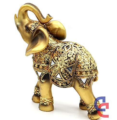 "Feng Shui 8"" (H) Brass Color Elegant Elephant Statue with Trunk Facing Upwards Collectible Wealth Lucky Elephant Figurine, Perfect for Home Decor, Office Decoration Gift Crystal Collection"