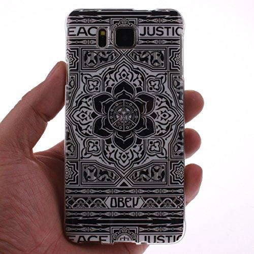 Samsung Galaxy G850 Funda,Ligero a Prueba de Choques Flexible Ultra Fino Suave TPU Parachoque Carcasa MAGQI Tecnología IMD Diseño Impreso Vendimia Serie Patrón [Absorción de Impacto] Resistente a los  Negro Tótem Floral