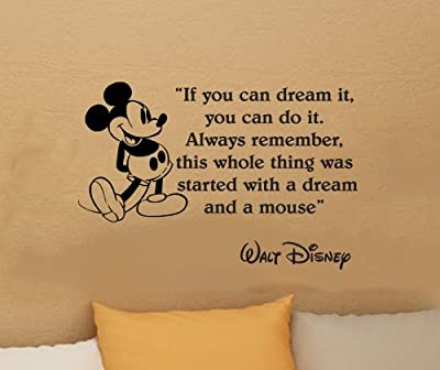 Walt Disney Mickey Mouse If You Can Dream It You Can Do It Wall Quote Vinyl Wall Art Decal Sticker Word Saying Vinyl Decal 16