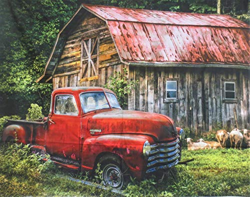 Red Truck AT The Barn with Sheep Cotton Fabric Panel