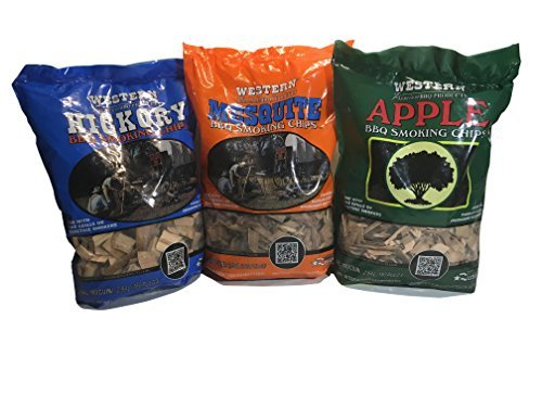 Western Perfect BBQ Smoking Wood Chips Variety Pack - Bundle (3) - Most Popular Flavors - Apple, Hickory & - Meat Smoking Chips