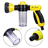 Garden Hose Nozzle - MrPro Hand Spray Nozzle, Heavy Duty High Pressure 8 Adjustable Patterns Watering Nozzle Sprayer Gun, Best for Watering Plants & Lawn & Patio, Car Wash, Showering Pets (Yellow)