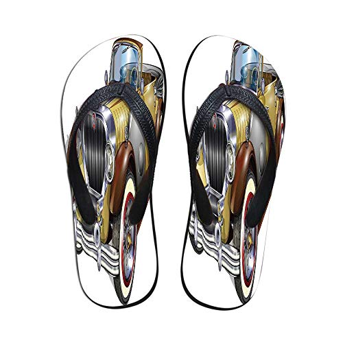 Man Cave Decor Printing Flip Flops,Antique Obsolete Classical Car Graphic Automobile Vehicle Engine Nostalgia Decorative for Home or Holiday,US Size 6