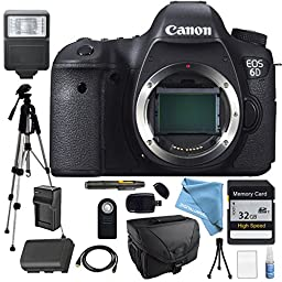 Canon EOS 6D Body Only Platinum package for Professional Photography - Flash, Full Size Pro Tripod, High Speed Memory Card with 1080p Support, Camera Case, Wireless Remote and much more