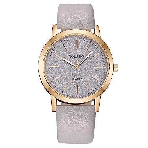 Sanmomo Womens Leather Band Watch, Elegant and Chic Casual Wrist Smart Watch, Gift for Women and Girls (Beige)