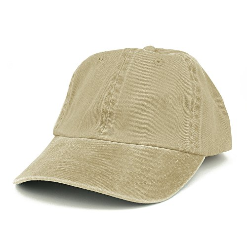 Armycrew Low Profile Plain Washed Pigment Dyed 100% Cotton Twill Dad Cap - Khaki (Pigment Solid Twill Cap Dyed)