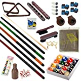 Pool Table - Premium Billiard 32 Pieces Accessory Kit - Pool Cue Sticks Bridge Ball Sets (Kit-6)