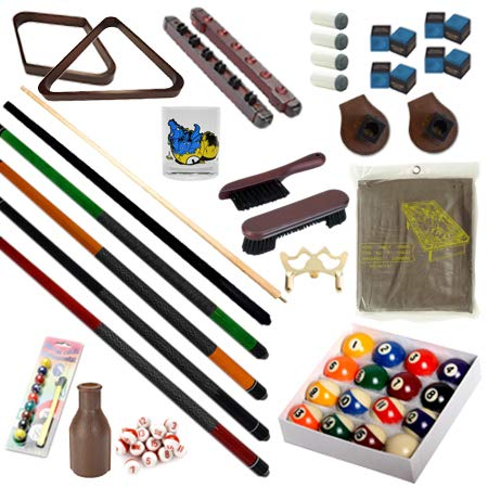 Pool Table - Premium Billiard 32 Pieces Accessory Kit - Pool Cue Sticks Bridge Ball Sets (Kit-6)