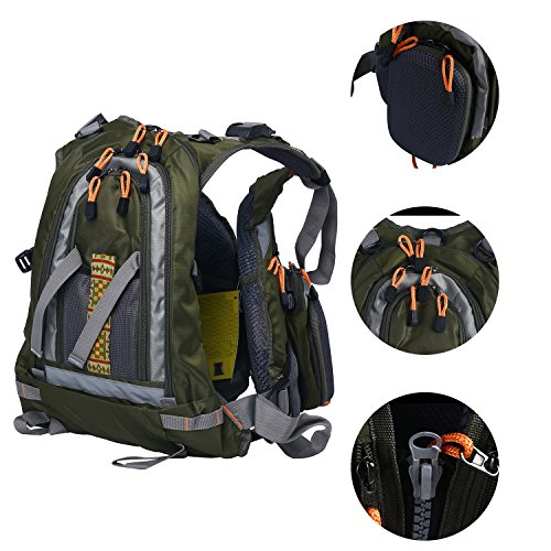 - Amarine Made Fly Fishing Backpack Adjustable Size Mesh Fishing Vest Pack, Fly Fishing Vest and Backpack Combo-D77 (Army Green)