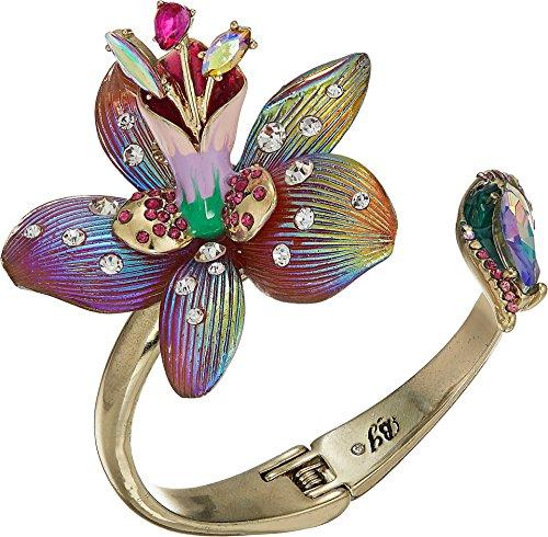 Betsey Johnson (GBG)) Paradise Lost Women's Flower Hinge Bangle Cuff Bracelet, Pink, One Size