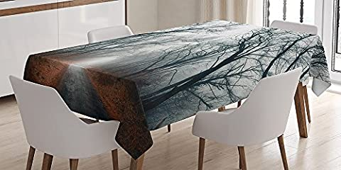 Cotton Microfiber Bathroom Towels Ultra Soft Mystic House Tablecloth Road Towards the Light Cloudy Autumn Sky Trees Golden Leaves on the Ground Rectangular Table Cover Gray Red