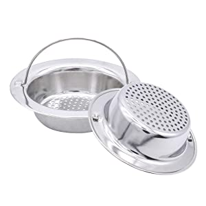 "2 Pack Upgrade Kitchen Sink Strainer with Handle, Premium Stainless Steel Sink Garbage Disposal Stopper Mesh Basket, Stainless Steel Kitchen Sink Basket Strainer, Wide Rim 4.33"" Diameter Large"