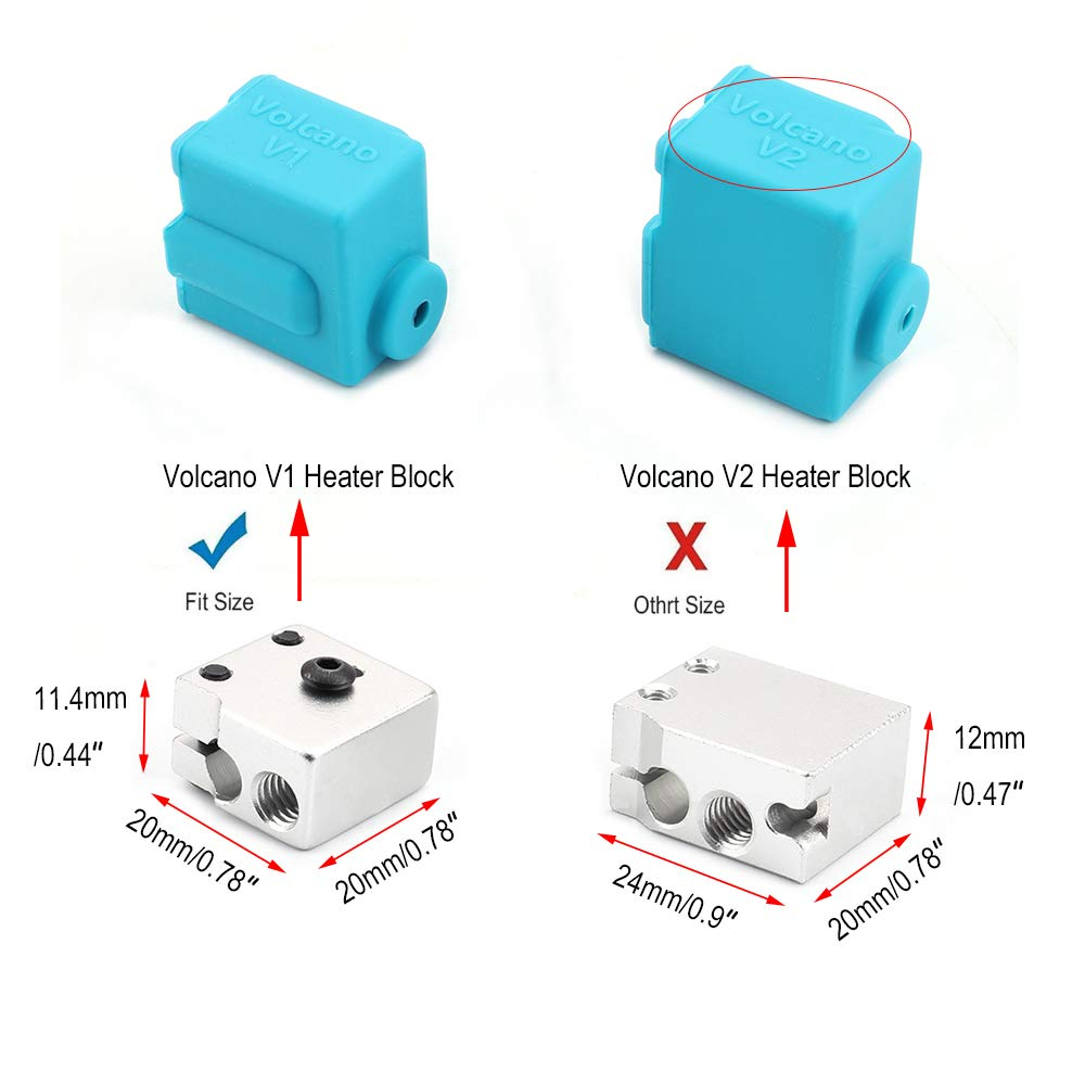 FYSETC 3D Printer Parts Silicone Sock Volcano V1 Heater Block Cover J-Head Hotend Bowden Direct Extruder Parts for Reprap Prusa i3 4 Pack
