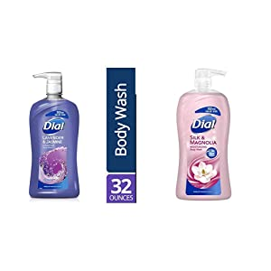 Dial Body Wash, Silk & Magnolia with Silk Protein, 32 Fluid Ounces and Dial Body Wash, Lavender & Jasmine, 32 Fluid Ounces (Pack May Vary)