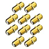 eBoot Golden Plated F-type Coaxial RG6 Connector Coupler RG6 Cable Extension Adapter for Connecting Two Coaxial Video Cables, 10 Pack