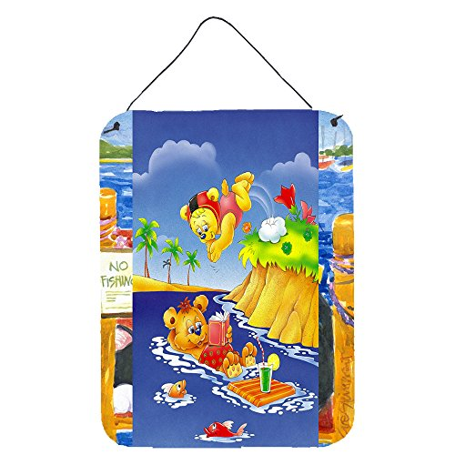 Teddy Bear Hanging - Caroline's Treasures Teddy Bears Swimming and Diving Wall or Door Hanging Prints APH0240DS1216 16
