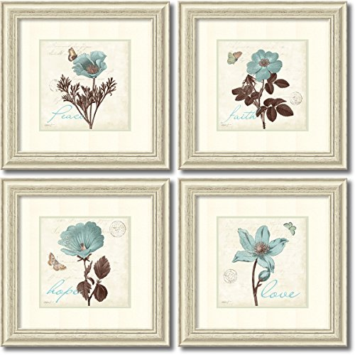 Framed Art Print, 'Touch of Blue- set of 4' by Katie Pertiet: Outer Size 22 x 22
