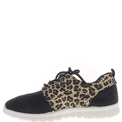 Favo di donna Sneakers effetto nero con inserti in leopard