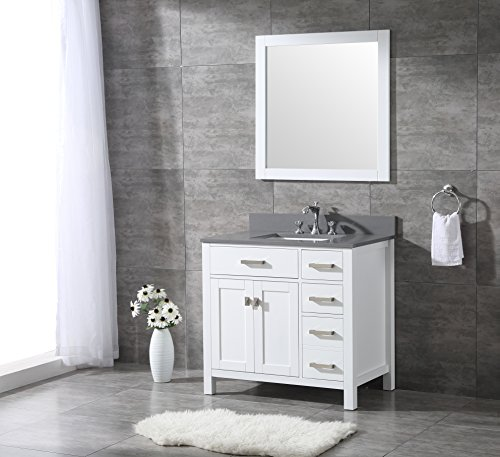 All-Wood Diamond White Shaker Vanity - Complete (36-inch, Grey Quartz Top) (Wood Shaker Vanity)