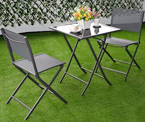Sunroom Furniture- Out Door Patio Furniture- Three Piece Set Dark Grey Textilene Fabric Steel Frame Glass Tabletop - Great For Summer Barbecues, Garden Parties, And Afternoons Spent Lounging