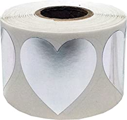 Metallic Silver Heart Stickers For Valentine's Day Crafting Scrapbooking 1 1/2 Inch 500 Adhesive Stickers