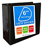 3 Ring Binder, Slant D-Rings, Clear View, Pockets (6 Inch, black)