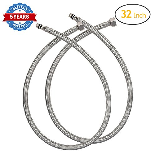 HOMEIDEAS 32-Inch Faucet Connector 3/8-Inch Female Compression Thread x M10 Male Stainless Steel Braided Supply Hose Connector Pack of 2(1 (Steel Male Connector)