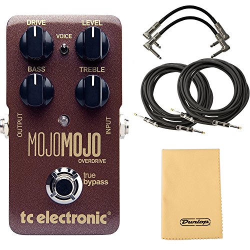 TC Electronic MojoMojo Overdrive Pedal Bundle with 2 Patch Cables, 2 Instrument Cables, and Dunlop Polishing Cloth (10 Best Overdrive Pedals)
