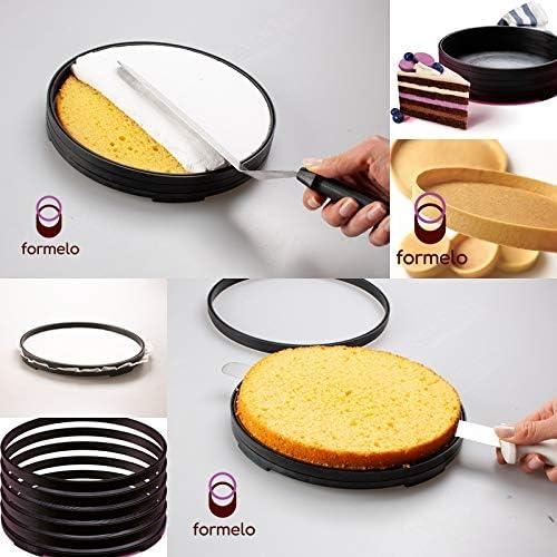 Forma de Torta de Cocina de Latas de Pastel Molde Cortador Nivelador de Pastel Ensamblado a Partir de 5 anillos para Hornear 22cm Formelo