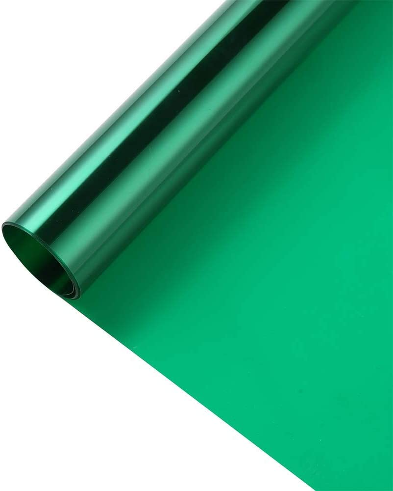 Transparent Decorative Window Film Anti UV Colorful Adhesive Vinyl Heat Insulation Solar Window Tinting Sheets Glass Film for Christmas Home Decoration, 17.7Inch x 78.7Inch, Green