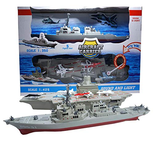 (Xplore Toys Aircraft Carrier Toy,with 5 Aircrafts Includes Destroyer Ship )