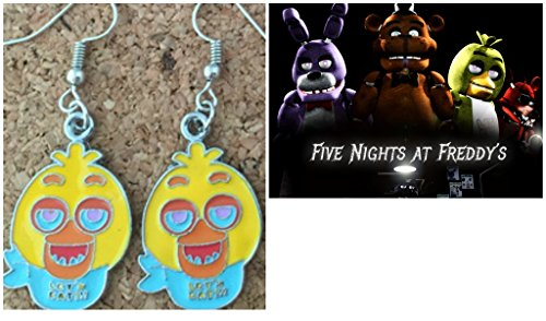 Outlander Gear Five Night's at Freddys Character Theme (Chica) Dangle Charm Earrings w/Gift Box ()