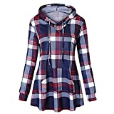 WOCACHI Final Clear Out Womens Plaid Hoodies with Pockets Pullover Long Sleeve Tops Sweatshirts Blouses Shirt Black Friday Cyber Monday Drawstring Winter Bottoming Shirts (Red, X-Large)
