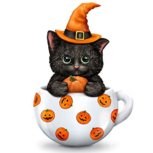 The Hamilton Collection Kayomi Harai Halloween Cat in Teacup Collectible Figurine ()