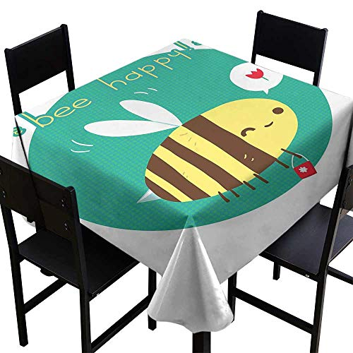 StarsART Fabric Tablecloth Queen Bee,Winking Bumblebee Cartoon Doodle with Bee Happy Quote Circle Abstract Background,Multicolor D36,Patterned Tablecloth ()