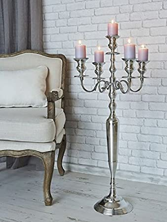 Amazon.com: Tall 5 Arm Silver Candelabras Taper Candle Holders ...