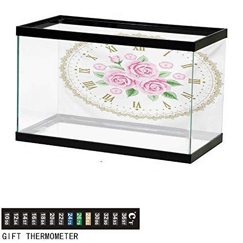 wwwhsl Aquarium Background,Shabby Chic,Vintage Clock Face Roses Roman Numbers Antique Vintage Style,Pale Pink Green Dark Khaki Fish Tank Backdrop 30