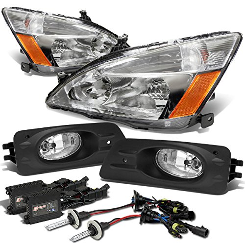 Honda Accord 4DR Headlight (Chrome)+Fog Light (Clear Lens)+10,000K HID+Slim Ballast - 7th Gen UC1 CM7 CM8
