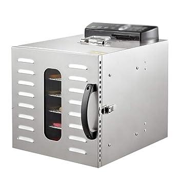 AI LI WEI Secador de Frutas, Pantalla Digital eléctrica Temperatura Regulable Sincronización Silencio Bandeja de Acero Inoxidable de 6 Capas Máquina Seca ...